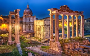 Picture night, lights, Rome, lights, Italy, the ruins, architecture, Italy, Rome, Arch, Roman forum, The Temple …