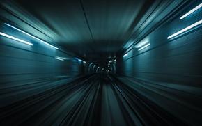 Wallpaper metro, rails, train, underground, subway, blur, movement, speed, the tunnel