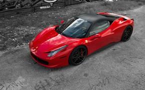 Picture Red, Ferrari 458 Italia, Supercar, Reflection