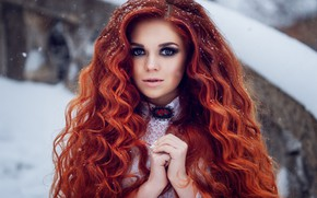 Picture look, girl, snow, portrait, hands, red, redhead, long hair, curls, Natalia Baklakova