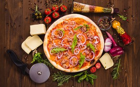 Picture greens, cheese, vegetables, pizza, tomatoes, spices