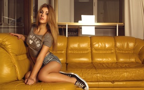 Picture look, girl, yellow, sofa, shorts, sneakers, makeup, Mike, hairstyle, posing, sitting, Rus