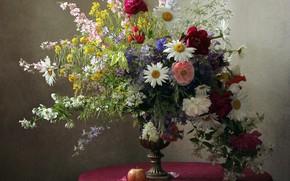 Picture Maki, Apple, chamomile, bouquet, peonies, Jasmine