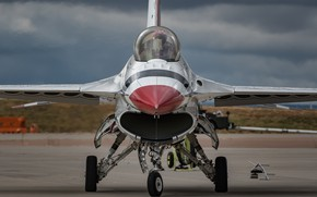 Picture fighter, cabin, the airfield, F-16, Fighting Falcon, Thunderbird
