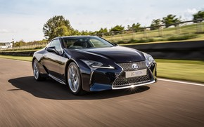 Picture road, reflection, background, speed, blur, Lexus, Lexus, 500h, Lexus LC 500H