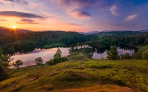 Picture forest, the sky, sunset, lake, hills, view