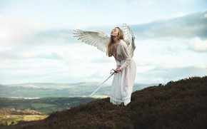 Wallpaper chest, the sky, girl, clouds, mountains, pose, weapons, fantasy, mood, height, wings, the situation, angel, ...