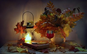 Picture autumn, leaves, watch, candle, the evening, flashlight, book, still life, candle holder