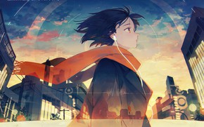 Picture girl, the city, scarf, Anime