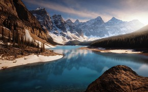 Wallpaper forest, Canada, rocks, mountains, light, lake