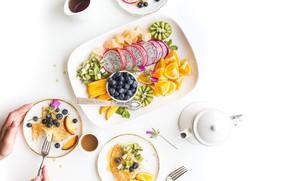 Picture orange, food, Breakfast, kiwi, blueberries, fruit, pancakes, slices, nectarine, pitaya