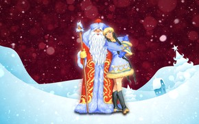 Picture Winter, Snow, Background, New year, Maiden, Holiday, Santa Claus, The snow