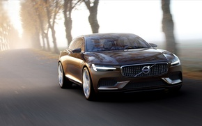 Picture road, fog, speed, Volvo
