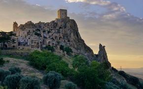 Picture rock, tower, home, Italy, Basilicata, The krako