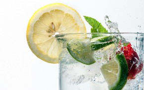 Picture ice, water, glass, lemon, lime