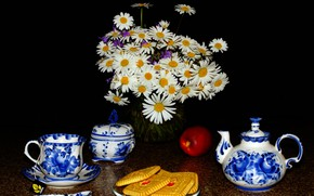 Picture flowers, tea, Apple, chamomile, cookies, spoon, Cup, black background, still life, teapot