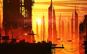 Picture sunset, the city, future, people, by kvacm, Silute