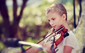 Wallpaper music, violin, girl