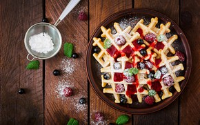 Picture Berries, powdered sugar, Waffles