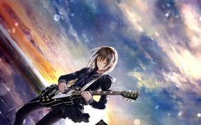 Picture the sky, girl, sunset, music, guitar, anime, art