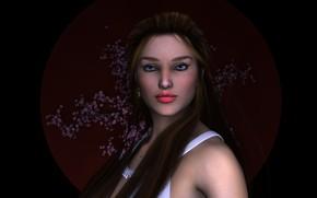 Picture look, girl, portrait, makeup, black background