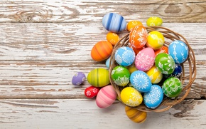 Wallpaper basket, colorful, wood, basket, Easter, Easter, happy, the painted eggs, holiday, spring, eggs