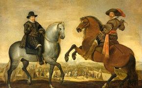 Picture picture, genre, Pauwels of Hillegaert, Prince Maurice and Prince Frederick Henry on horseback