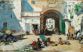 Picture oil, panel, arch, lane, Raimundo de Madrazo-and-Garrett, Street scene