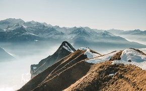 Picture snow, mountains, fog, people, mountains, Alps, Swiss Alps, The Swiss Alps