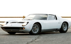 Picture Auto, Lamborghini, White, Retro, Machine, Eyelashes, 1969, Lights, Car, Supercar, Miura, Supercar, Lamborghini Miura, Italian, ...