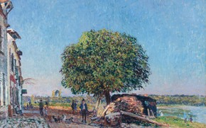 Picture landscape, tree, street, home, picture, Alfred Sisley, Alfred Sisley, Chestnut in Saint-Mames