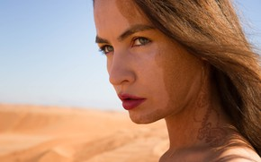 Picture sand, summer, face, hair, lips, Sandy