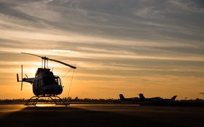 Wallpaper sunset, airbase, helicopter