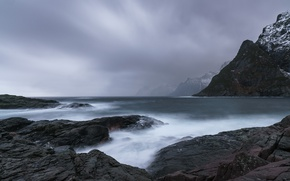 Picture sea, mountains, clouds, nature, fog, stones, rocks, haze, the fjord, gray day