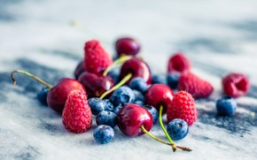 Picture summer, berries, raspberry, cherry, blueberries