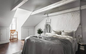 Picture room, interior, bedroom, Scandinavian style, Apartment in Stockholm