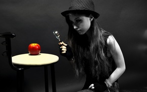 Picture apple, Light, hat, woman, evidence