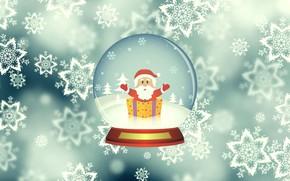 Picture Winter, Minimalism, Snow, Ball, Snowflakes, Background, New year, Santa, Holiday, Santa Claus, Glass globe
