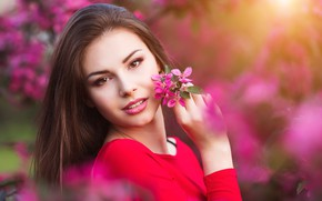 Picture girl, flowers, beauty, spring, garden, woman, young, beautiful, Spring, Happy, touch
