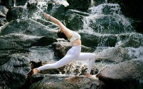 Wallpaper Asian, stones, yoga, gymnastics, girl, water, nature, pose