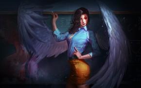 Wallpaper look, girl, wings, angel, fantasy, art, Board, the teacher, Mel