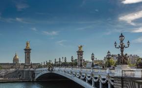 Picture the sky, the sun, bridge, river, France, Paris, home, lights, sculpture, Pont Alexandre III, Pont …
