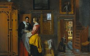 Picture picture, genre, Interior with Women at a Linen Closet, Pieter de Hooch