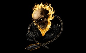 Picture skull, chain, Ghost, Ghost Rider, racer