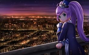 Wallpaper girl, night, the city