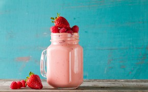 Picture strawberry, drink, smoothies with yogurt