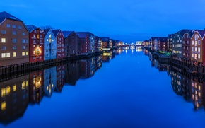 Picture water, lights, reflection, home, the evening, Norway, channel, Trondheim