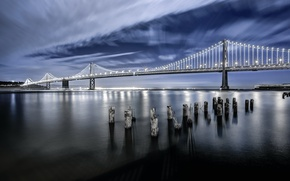Picture the sky, night, bridge, San Francisco