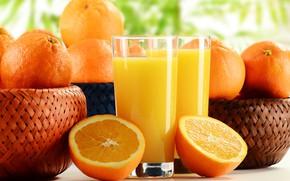 Picture orange, oranges, juice, glasses, fruit, citrus, bokeh, basket