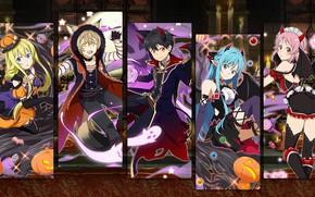 Picture collage, anime, art, characters, costumes, Halloween, Sword art online, Sword Art Online
